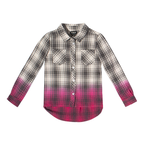 Dip Dyed Plaid Shirt - Pink Peacock