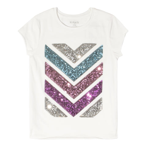 Sequins Chevron Tee - Rosebloom