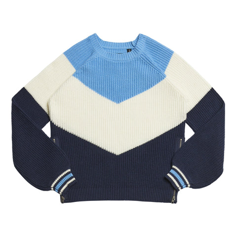 Colorblock Chevron Sweater - Kidpik Navy
