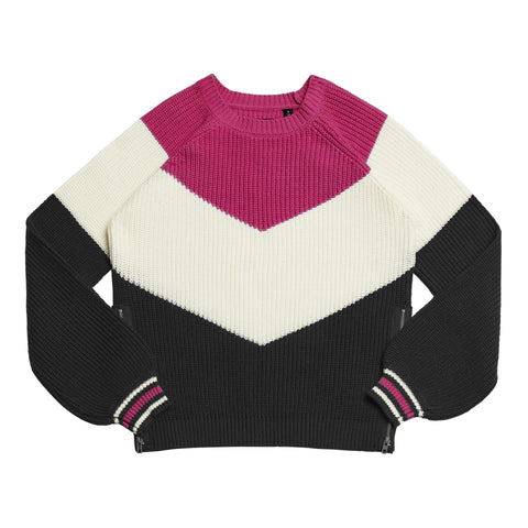 Colorblock Chevron Sweater - Pink Peacock