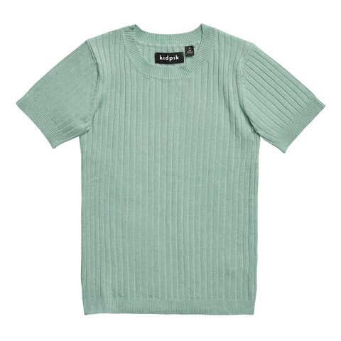 Ribbed Crew Sweater - Dusty Jade Green