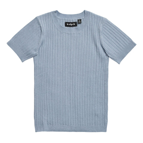 Ribbed Crew Sweater - Dusty Blue