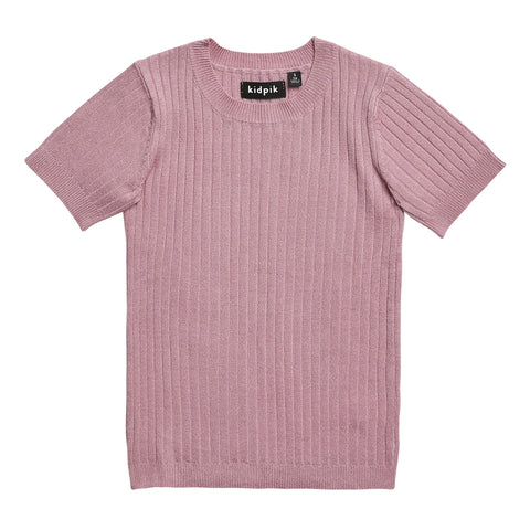 Ribbed Crew Sweater - Pink Nectar
