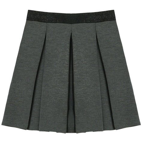 Scuba Pleated Skirt - Dark Heather Grey