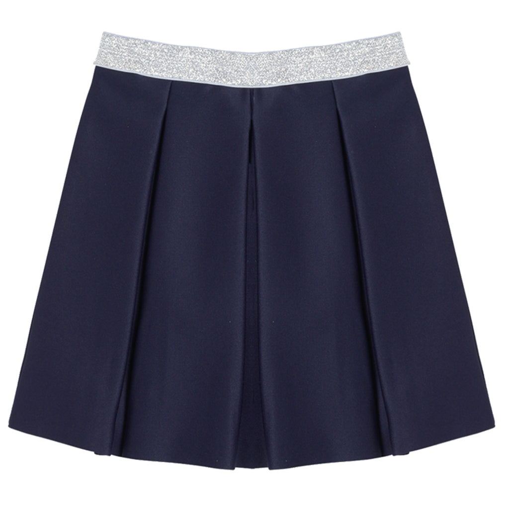 Pleated Scuba Skirt - Kidpik Navy