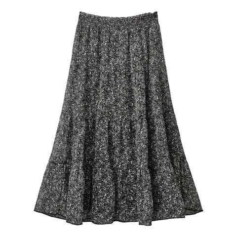 Ditsy Floral Tier Skirt - Black