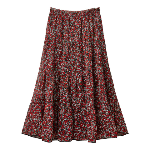 Ditsy Floral Tier Skirt - Scarlet