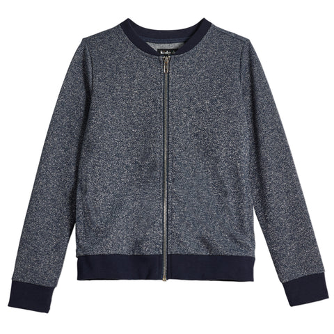 Metallic French Terry Bomber Jacket - Kidpik Navy