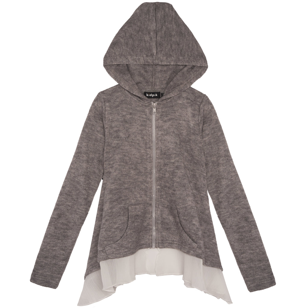 ruffle cardigan - Medium Heather Grey