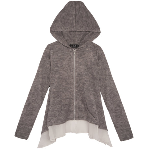 Ruffle Hoodie Sweater - Medium Heather Grey