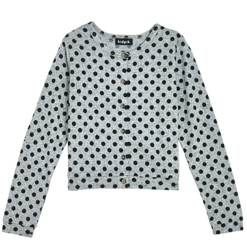 Polka Dot Cardigan - Heather Grey