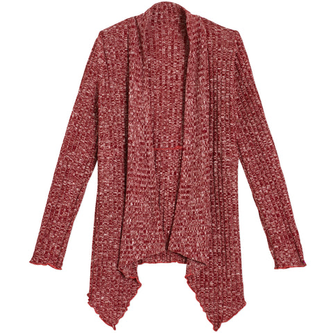 Flyaway Ribbed Cardigan - Chili Pepper