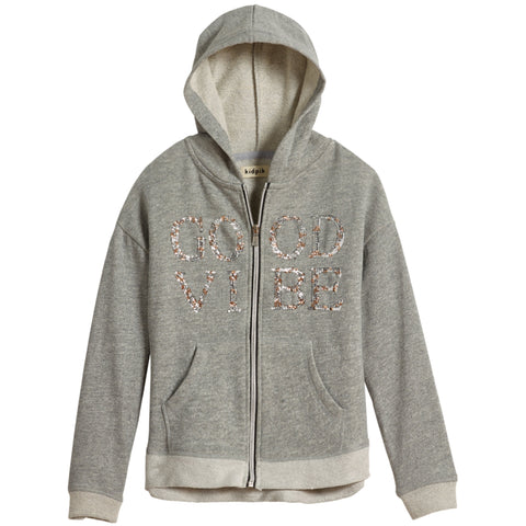 Graphic Zip Hoodie - Medium Heather Grey