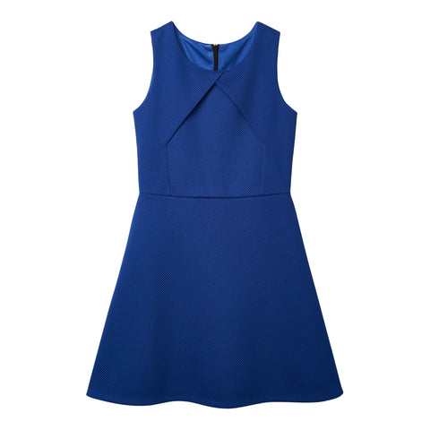 Waffle Knit Dress - Deep Royal