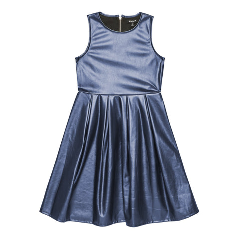 Pearlized pleather pleated dress - Deep Royal