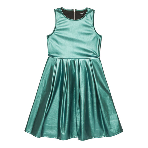 Pearlized pleather pleated dress - Ocean Wave