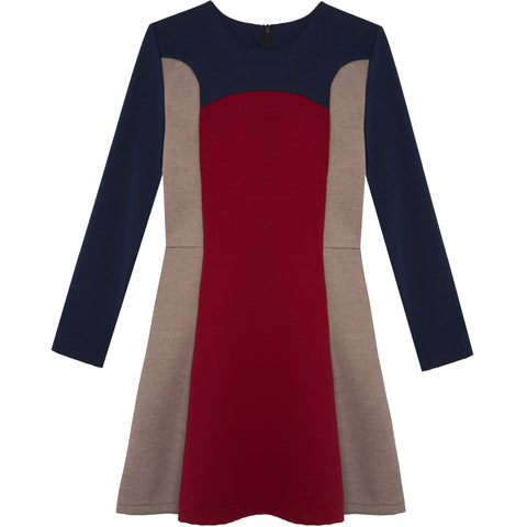 Color Block Dress - Scarlet