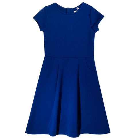 Classic Waffle Knit Dress - Deep Royal