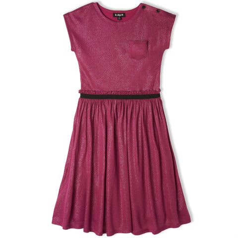 Shirred Party Dress - Beetroot Purple