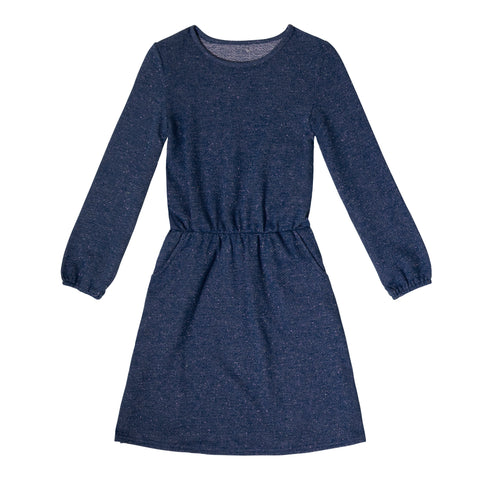 Sparkling Fleece Dress - Kidpik Navy