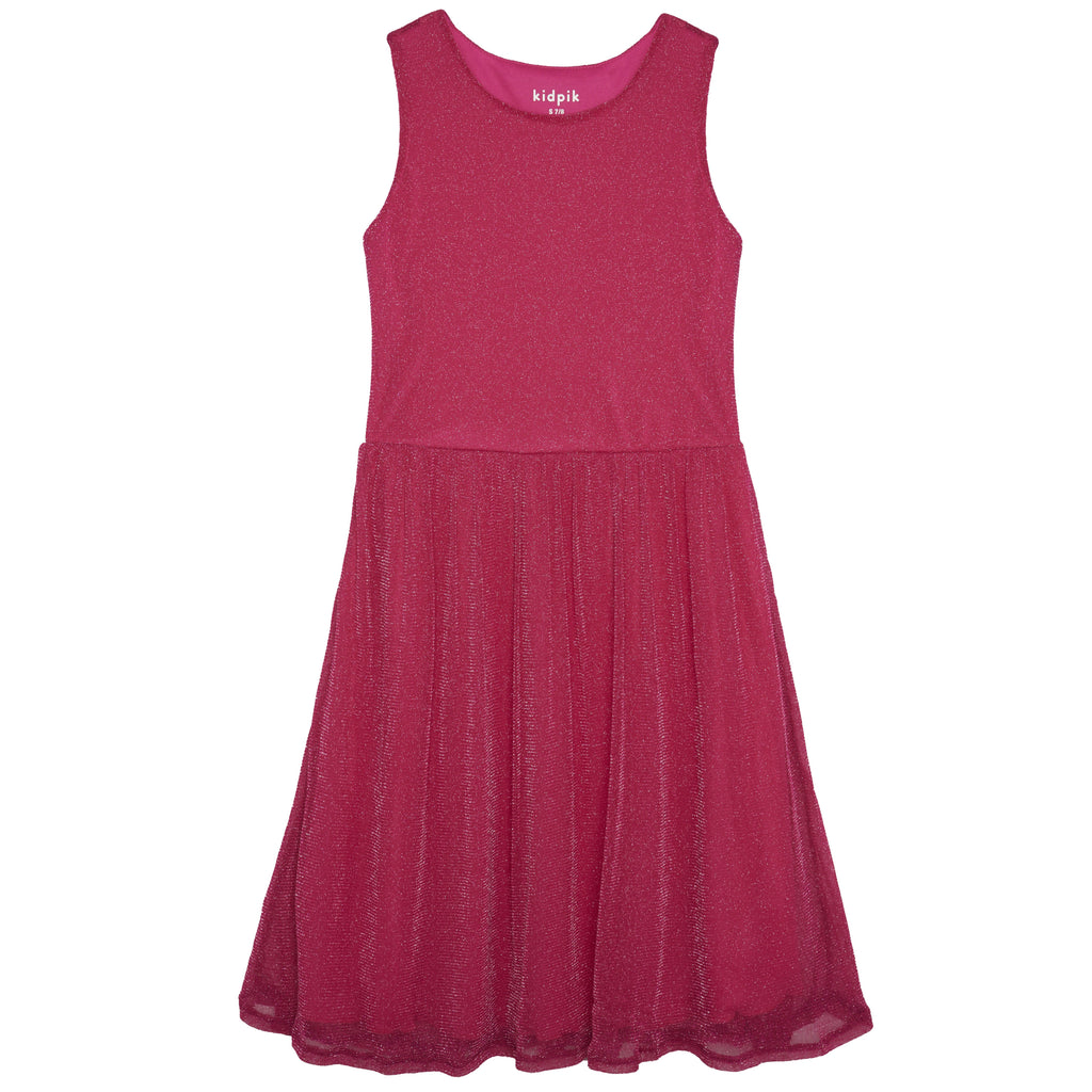 Glitter mesh dress - Beetroot Purple