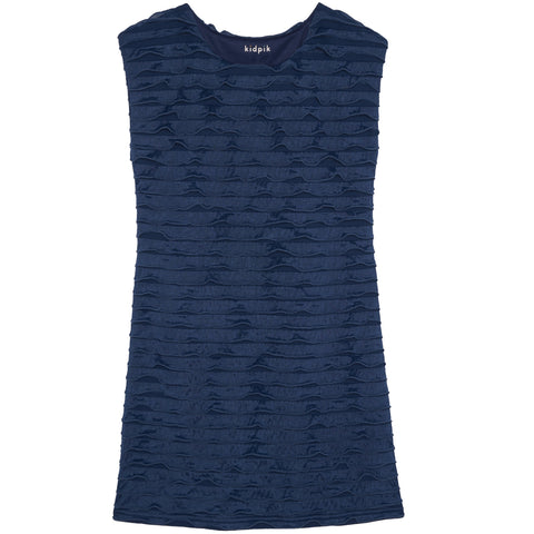 Translucent Ruffle Dress - Kidpik Navy
