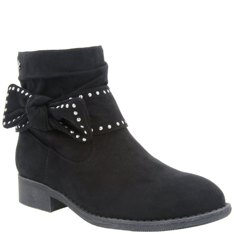 Studded Bow Bootie - Black