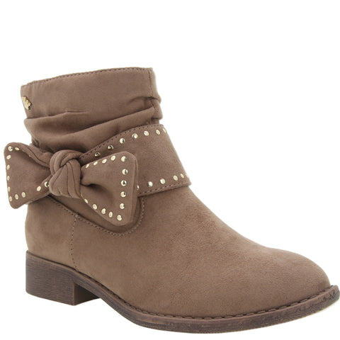 Studded Bow Bootie - Tan