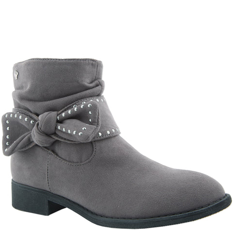 Studded Bow Bootie - Grey