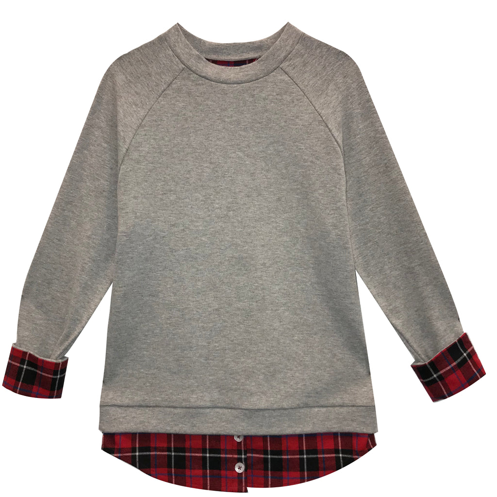 Classic Plaid Layered Sweatshirt