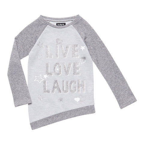 (Live laugh love)Graphic Front Tunic - Light Heather Grey