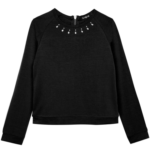 Jeweled Banded Top - Black
