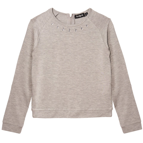 Jeweled Banded Top - Medium Heather Grey