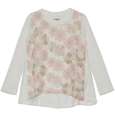 Flower Overlay Hi Low Top - Kidpik Cream