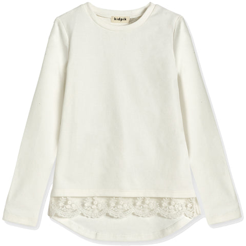 Cozy Lace Trim Tee - Kidpik Cream