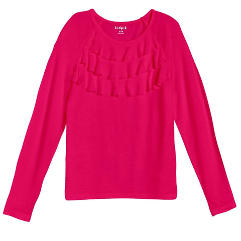 Ruffle Knit Top - Beetroot Purple