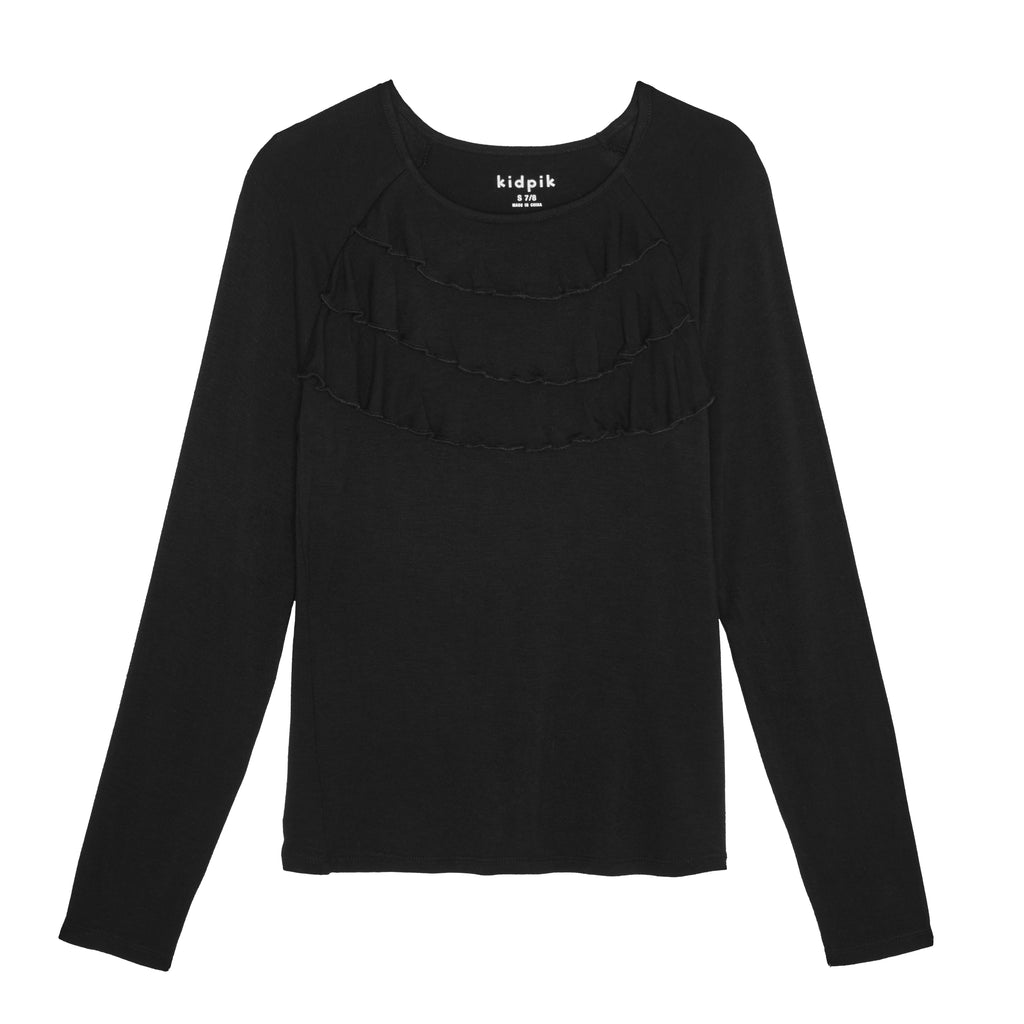 Ruffle knit top - Black