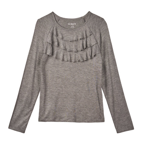 Ruffle Knit Top - Medium Heather Grey