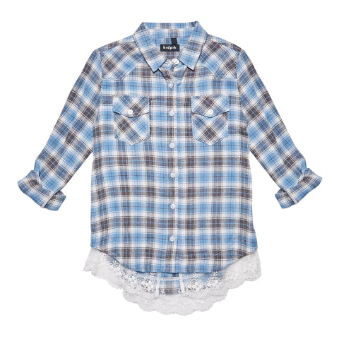 Ruffle Plaid Shirt - Angel Falls
