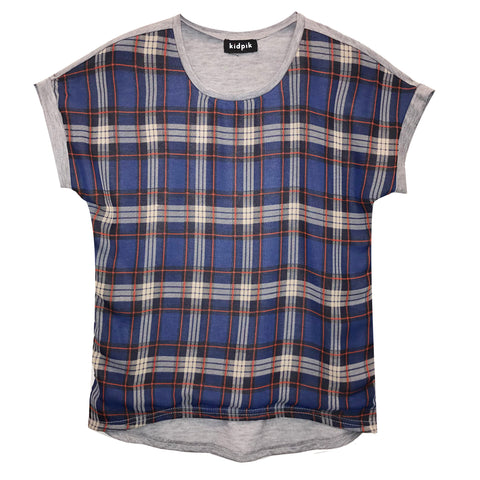 Plaid Front Tee - Deep Royal