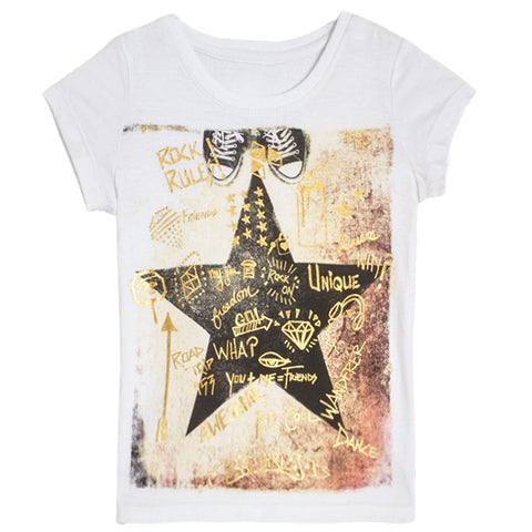 Graffiti Star Tee - White