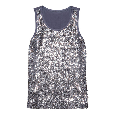 Silver Sequin Tank - Rabbit