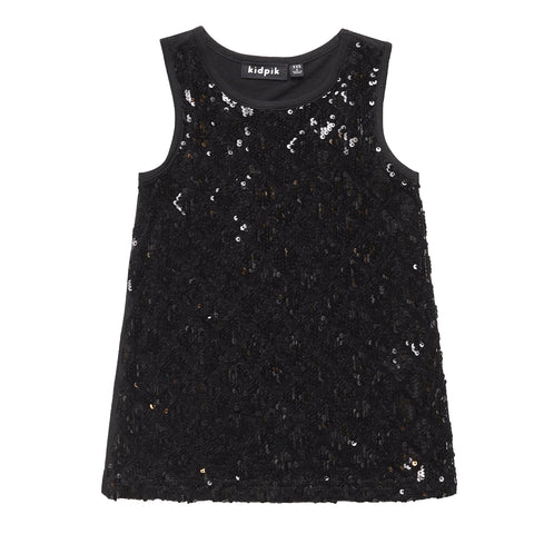 Black Sequin Tank - Black