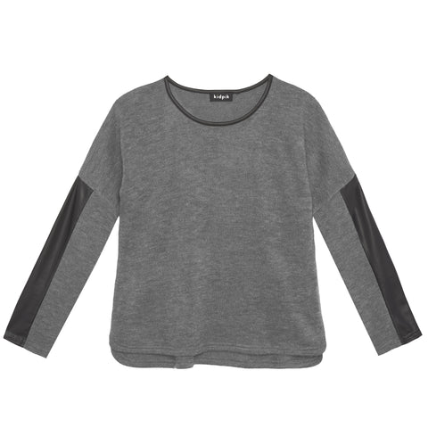 Pleather Insert Sweater - Medium Heather Grey
