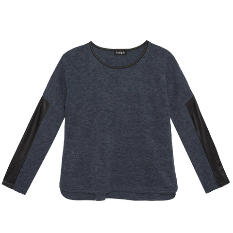 Pleather Insert Sweater - Kidpik Navy
