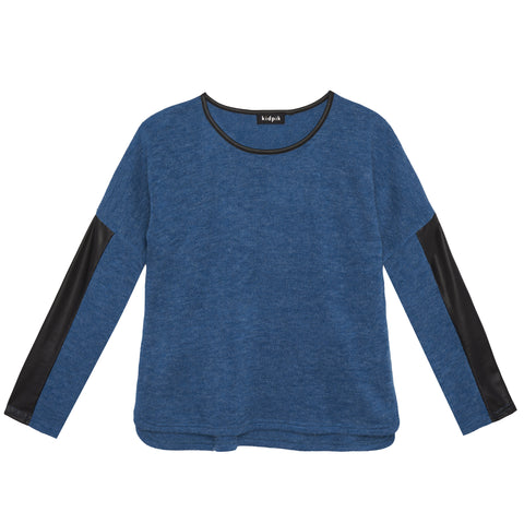 Pleather Insert Sweater - Lyons Blue