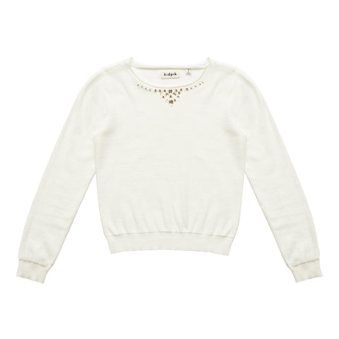 Jeweled Sweater - Kidpik Cream