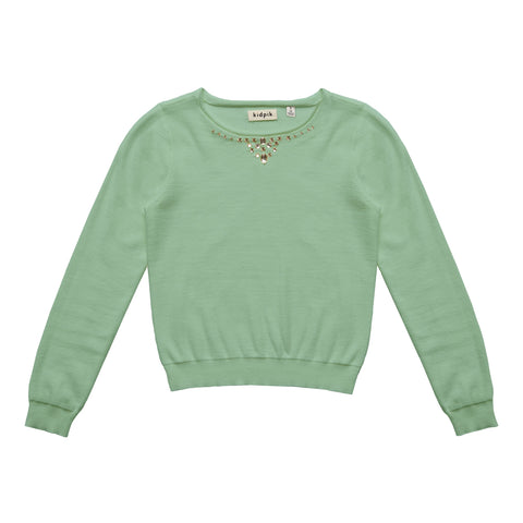 Jeweled Sweater - Dusty Jade Green