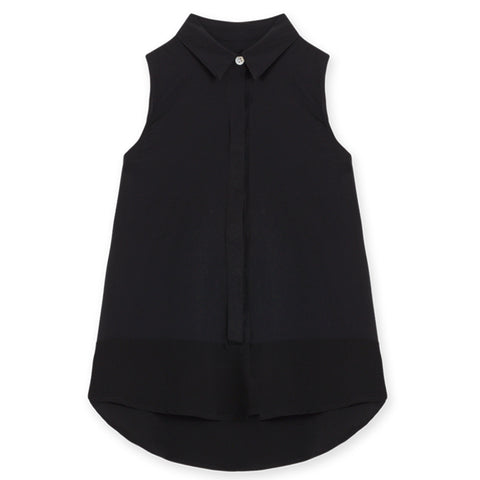 Solid Sleeveless Shirt - Black