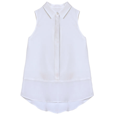 Solid Sleeveless Shirt - White